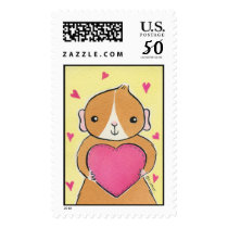 Guinea-pig with Valentine's Day Heart Postage