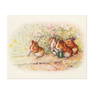 Guinea Pigs and Garden Tools Canvas Print