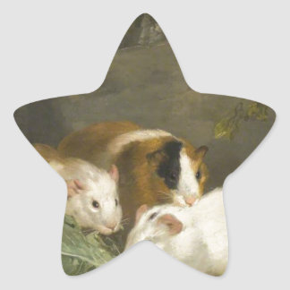 Guinea Pigs by George Morland Star Sticker
