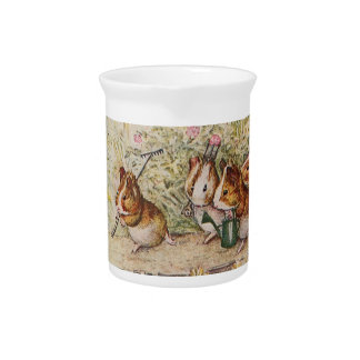 Guinea Pigs in the Garden Planting Seeds Drink Pitcher