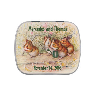 Guinea Pigs in the Garden Wedding Favor Jelly Belly Candy Tins