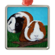 Guinea Pigs Painting Metal Ornament