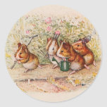 Guinea Pigs Planting in the Garden Classic Round Sticker