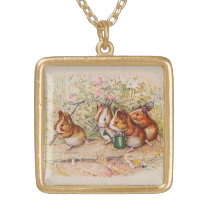 Guinea Pigs Planting in the Garden Gold Plated Necklace
