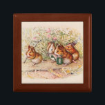 """Guinea Pigs Planting in the Garden Jewelry Box<br><div class=""""desc"""">Guinea pigs set off to work in the garden. They sing another song while they plant seeds for the new season. Drawing by Beatrix Potter, from Cecily Parsley&#39;s Nursery Rhymes. We have a little garden, A garden of our own, And every day we water there The seeds that we have...</div>"""