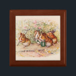 "Guinea Pigs Planting in the Garden Jewelry Box<br><div class=""desc"">Guinea pigs set off to work in the garden. They sing another song while they plant seeds for the new season. Drawing by Beatrix Potter, from Cecily Parsley&#39;s Nursery Rhymes. We have a little garden, A garden of our own, And every day we water there The seeds that we have...</div>"