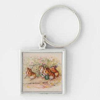Guinea Pigs Planting in the Garden Keychain