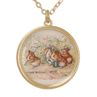 Guinea Pigs Planting in the Garden Personalized Necklace