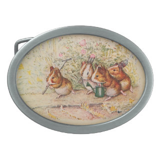 Guinea Pigs Planting in the Garden Oval Belt Buckle