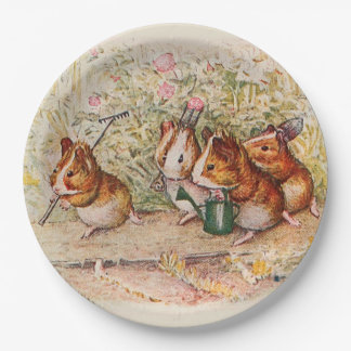 Guinea Pigs Planting in the Garden Paper Plate