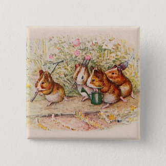 Guinea Pigs Planting in the Garden Pinback Button