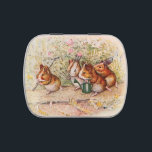 """Guinea Pigs Planting in the Garden Plain Jelly Belly Candy Tin<br><div class=""""desc"""">Guinea pigs about to work in the garden with shovels and a pitch in a drawing by Beatrix Potter, from Cecily Parsley&#39;s Nursery Rhymes. They sing another song while they plant seeds for the new season. See below for another version of this candy tin with personalized text for a wedding...</div>"""