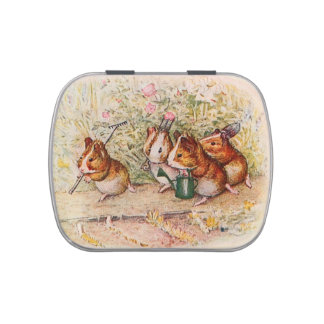 Guinea Pigs Planting in the Garden Plain Jelly Belly Candy Tins