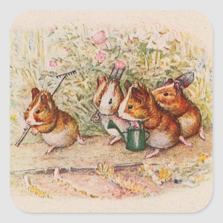 Guinea Pigs Planting in the Garden Square Stickers
