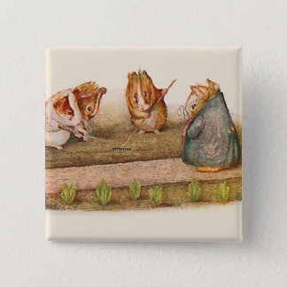 Guinea pigs tending garden pinback button