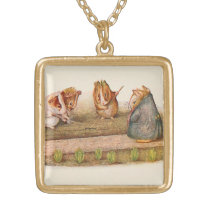 Guinea Pigs Tending the Garden Illustrated Gold Plated Necklace