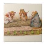 Guinea Pigs Tending Vegetable Garden Ceramic Tile