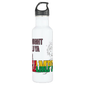 Guinean and a Champion Water Bottle