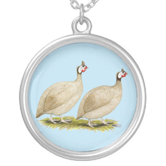 Guineas Buff Dundotte Fowl Silver Plated Necklace