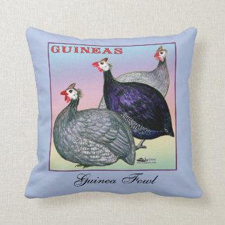 Guineas Three Fowl Throw Pillow