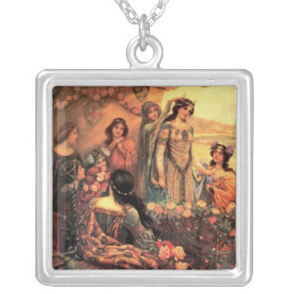Guinevere in Camelot Square Pendant Necklace
