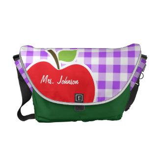 Guinga a cuadros púrpura; Apple Bolsas Messenger