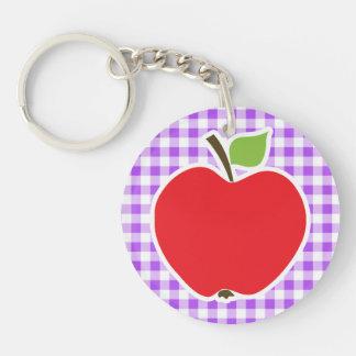Guinga a cuadros púrpura Apple Llaveros