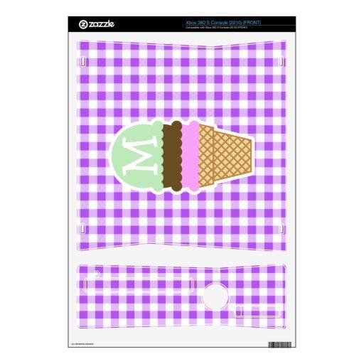 Guinga a cuadros púrpura; Cono de helado Xbox 360 S Skin