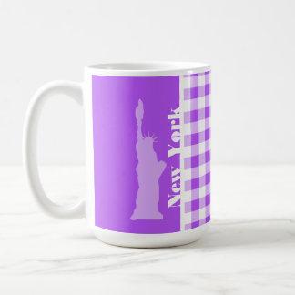 Guinga a cuadros púrpura; Estatua de la libertad Tazas