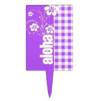 Guinga a cuadros púrpura; Hawaiana Decoraciones De Tartas