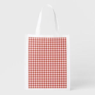 Guinga a cuadros roja y blanca retra bolsa reutilizable