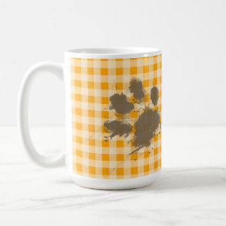 Guinga anaranjada ambarina divertida de Pawprint Taza De Café