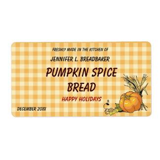 Guinga anaranjada con la comida de la calabaza y etiqueta de envío