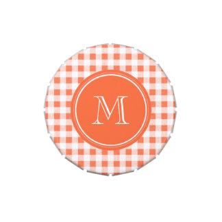 Guinga anaranjada y blanca, su monograma jarrones de dulces