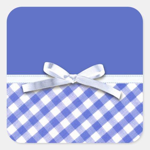 Guinga azul marino con el gráfico blanco del arco pegatina cuadrada