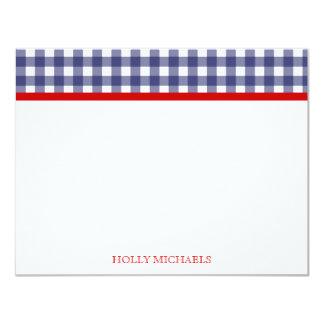 """Guinga azul y Notecards plano rojo Invitación 4.25"""" X 5.5"""""""