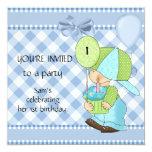 Guinga blanca azul del 1r cumpleaños de los invitacion personal