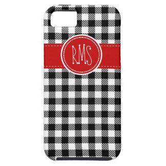 Guinga blanco y negro con acentos rojos funda para iPhone SE/5/5s