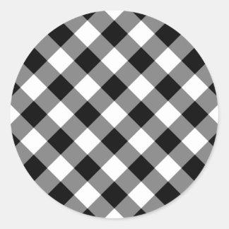 Guinga blanco y negro pegatina redonda
