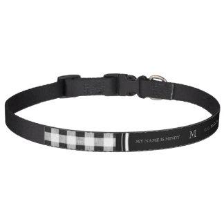 Guinga blanco y negro, su monograma collar para perro