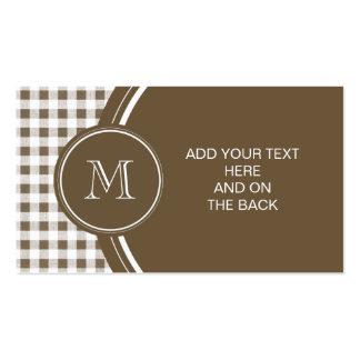Guinga de color topo y blanca, su monograma plantilla de tarjeta de negocio