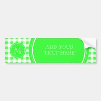 Guinga de la verde lima y del blanco su monograma etiqueta de parachoque