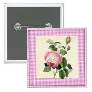 Guinga de lino color de rosa rosada pasada de moda pin cuadrado