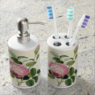 Guinga de lino color de rosa rosada pasada de moda vasos para cepillos de dientes