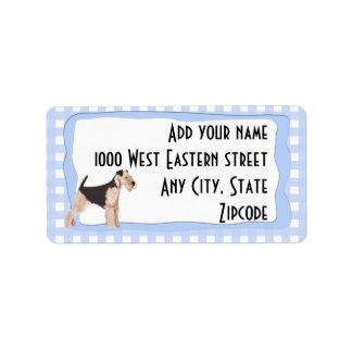 Guinga del azul de Airedale Terrier Etiquetas De Dirección
