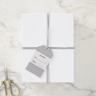 Guinga del gris y del blanco de carbón de leña, su etiquetas para regalos