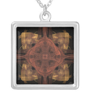 Guinga del oro con arte rojo del fractal del colgante cuadrado