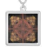 Guinga del oro con arte rojo del fractal del medal collares personalizados