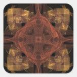 Guinga del oro con arte rojo del fractal del pegatina cuadrada