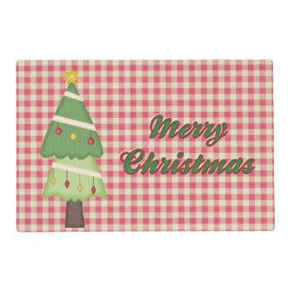 Guinga del rojo del árbol de navidad salvamanteles